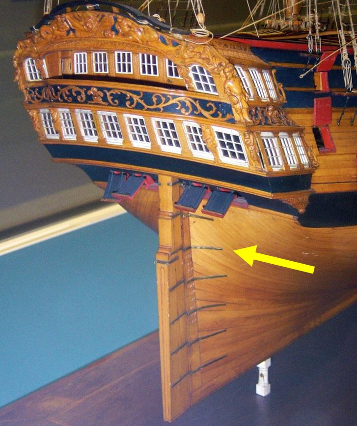 A similar ship shows the position of the rudder gudgeon (arrowed)