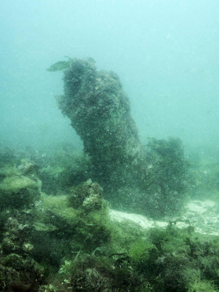 Underwater view of the upper gun-deck cannon